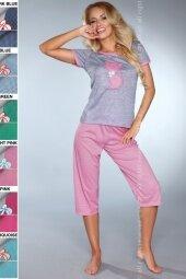 Piżama Caty 718 Grey-Pink (Szaro-różowa, odcień fuksji)